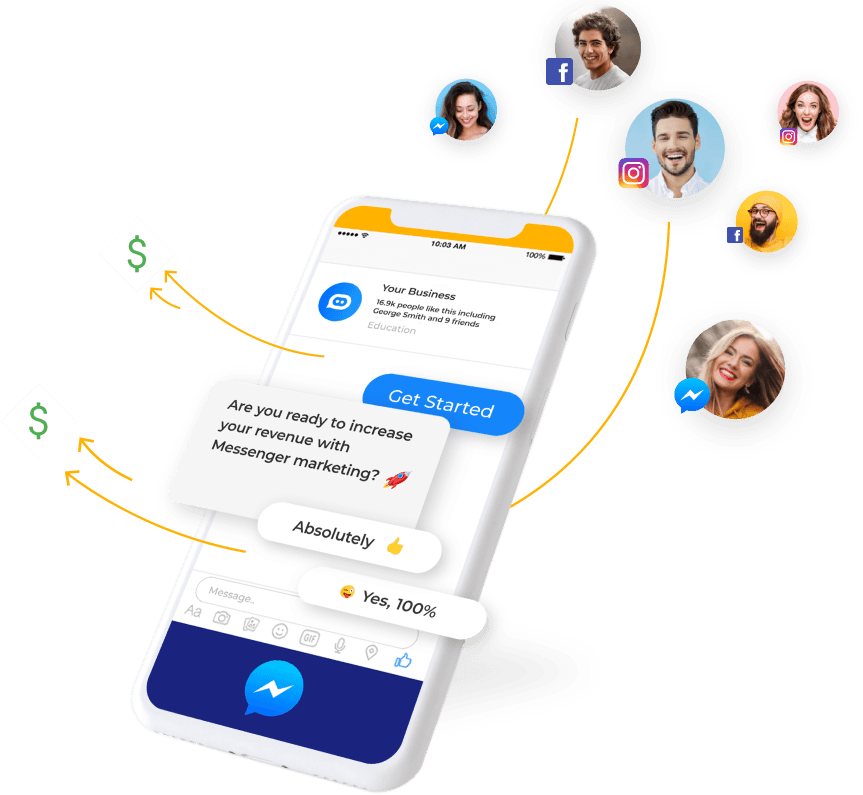Automate sales & Marketing with Messenger bot, SMS   & Email   to convert more